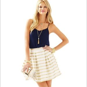 Lilly Pulitzer gold cream pleated Kylie skirt